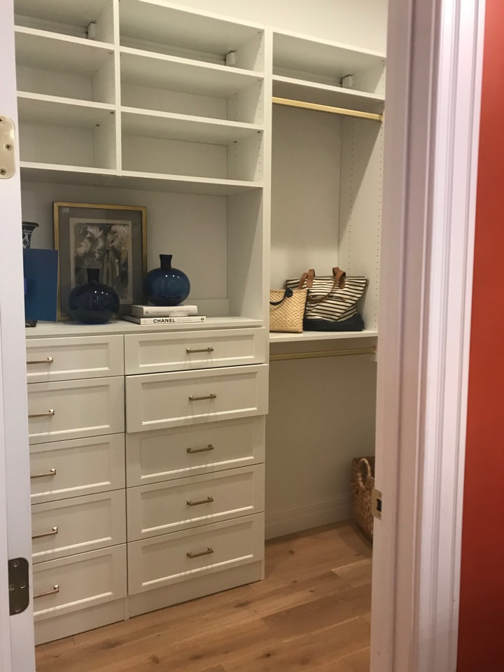 Built-in closet drawers